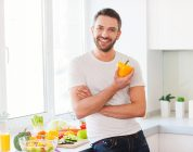 healthy man eating healthy food
