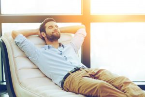 man relaxed with no stress