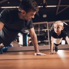 dad who takes Progentra and his son exercising in the gym