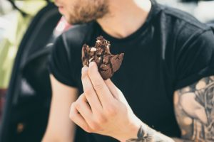 Tattooed man and Dark chocolate cookie