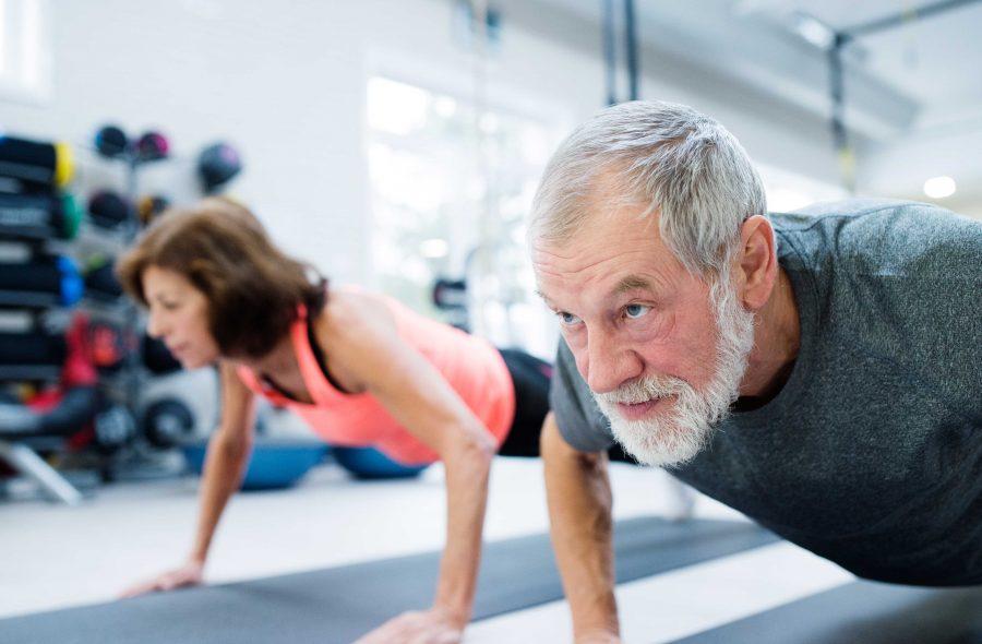senior couple push ups