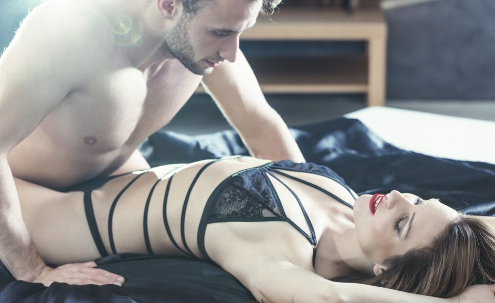 black lace strappy lingerie setting the mood